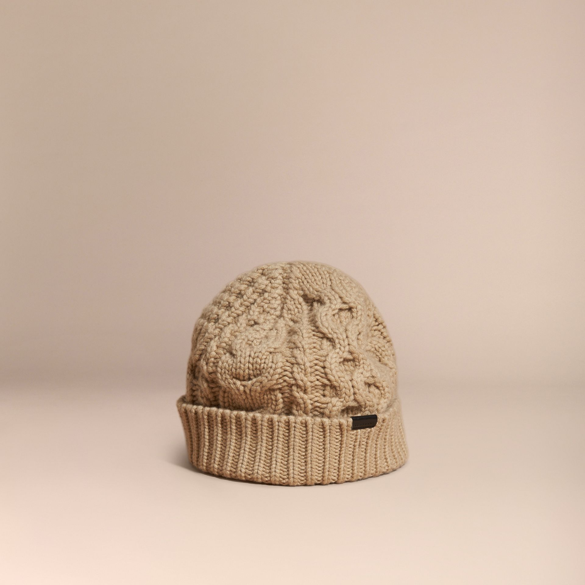 Camel Aran Knit Wool Cashmere Beanie Camel - gallery image 1