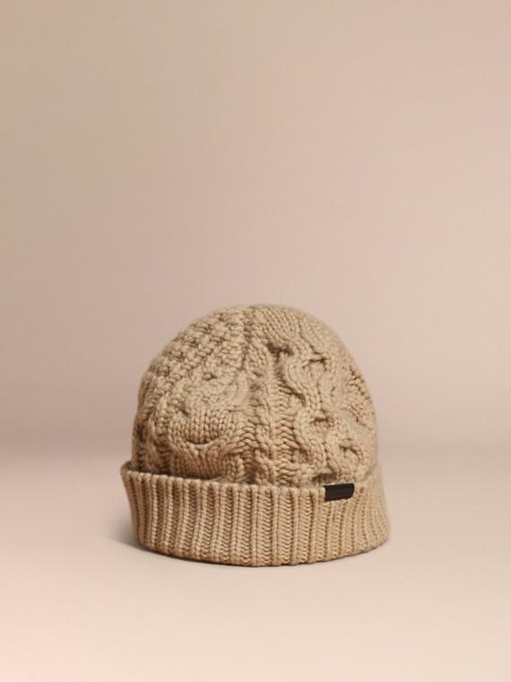 Bonnet en laine et cachemire en points irlandais Camel