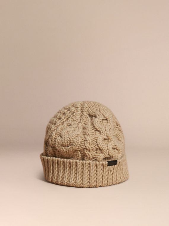 Aran Knit Wool Cashmere Beanie Camel