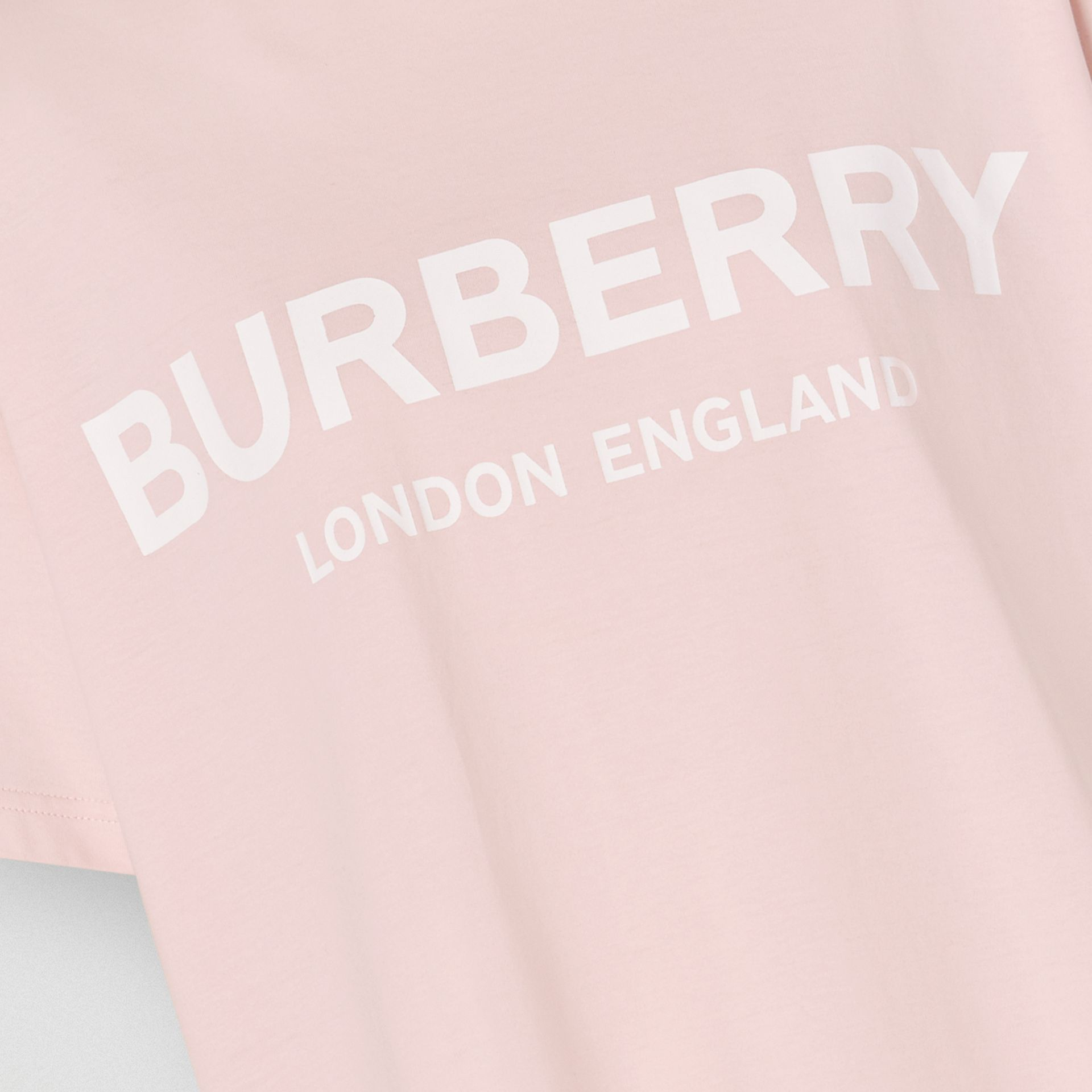 Logo Print Cotton T-shirt in Alabaster Pink - Women | Burberry - gallery image 1