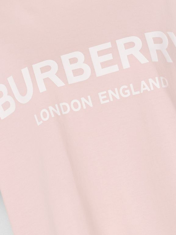 Logo Print Cotton T-shirt in Alabaster Pink - Women | Burberry - cell image 1
