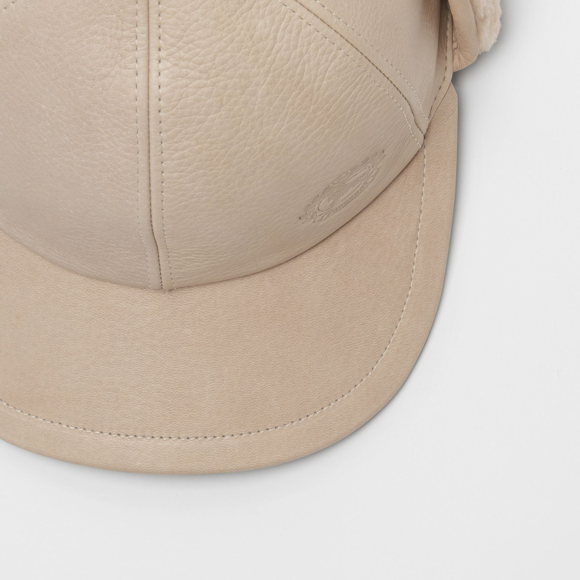Leather and Shearling Cap in Limestone | Burberry - gallery image 1