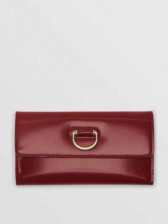 D-ring Patent Leather Continental Wallet in Crimson
