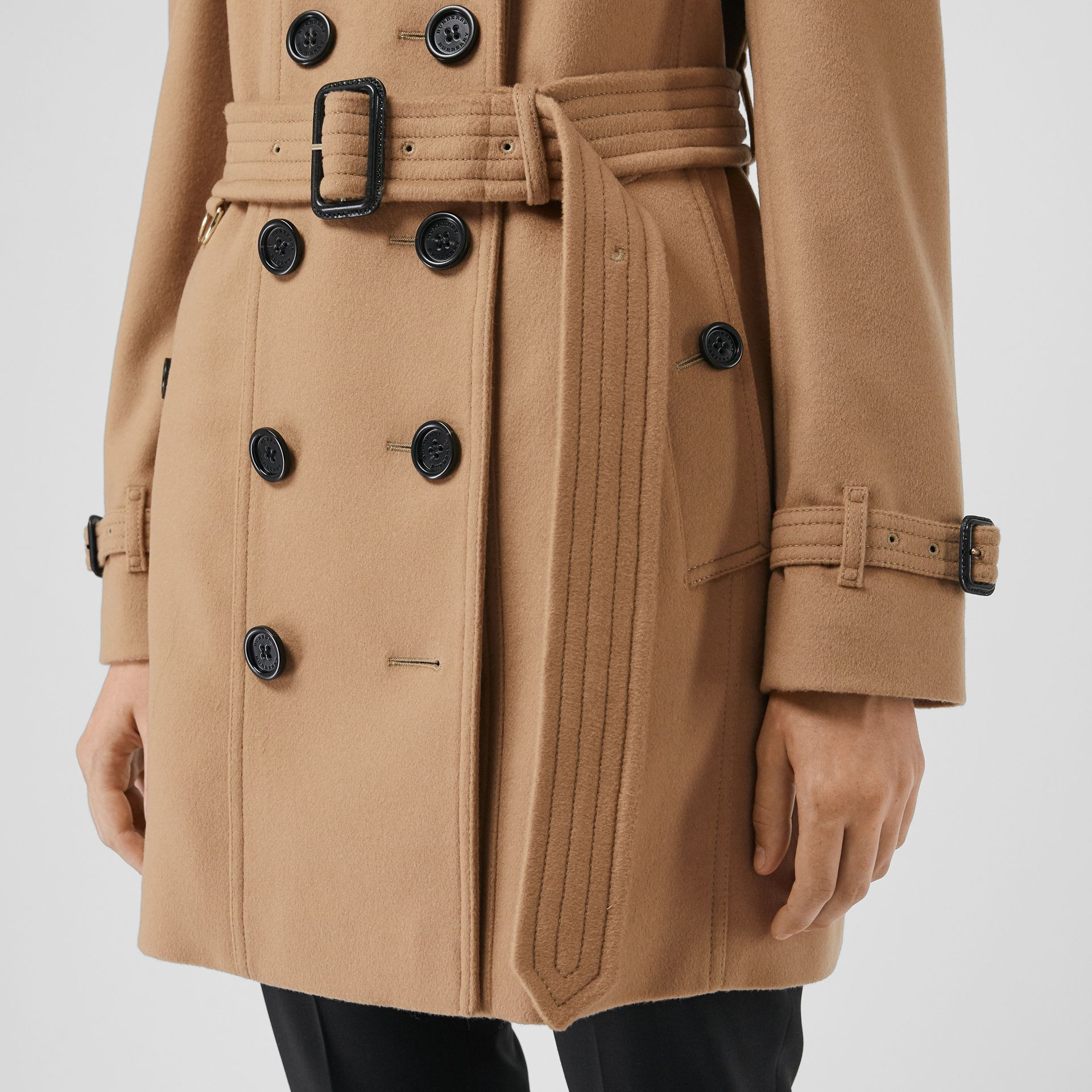 Wool Cashmere Trench Coat with Fur Collar in Camel - Women | Burberry United States - gallery image 6