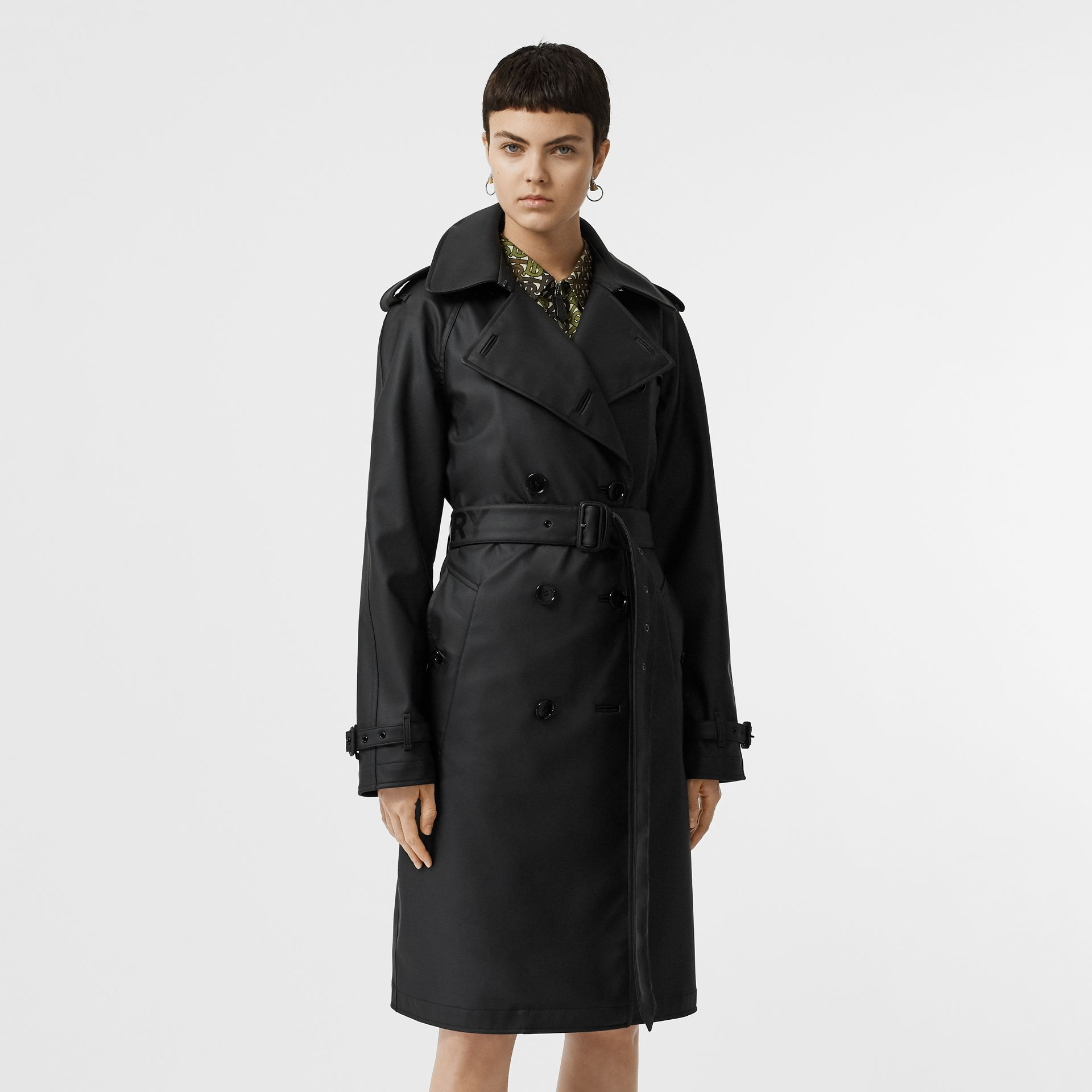 Logo Detail Showerproof Trench Coat in Black/white - Women | Burberry - gallery image 7