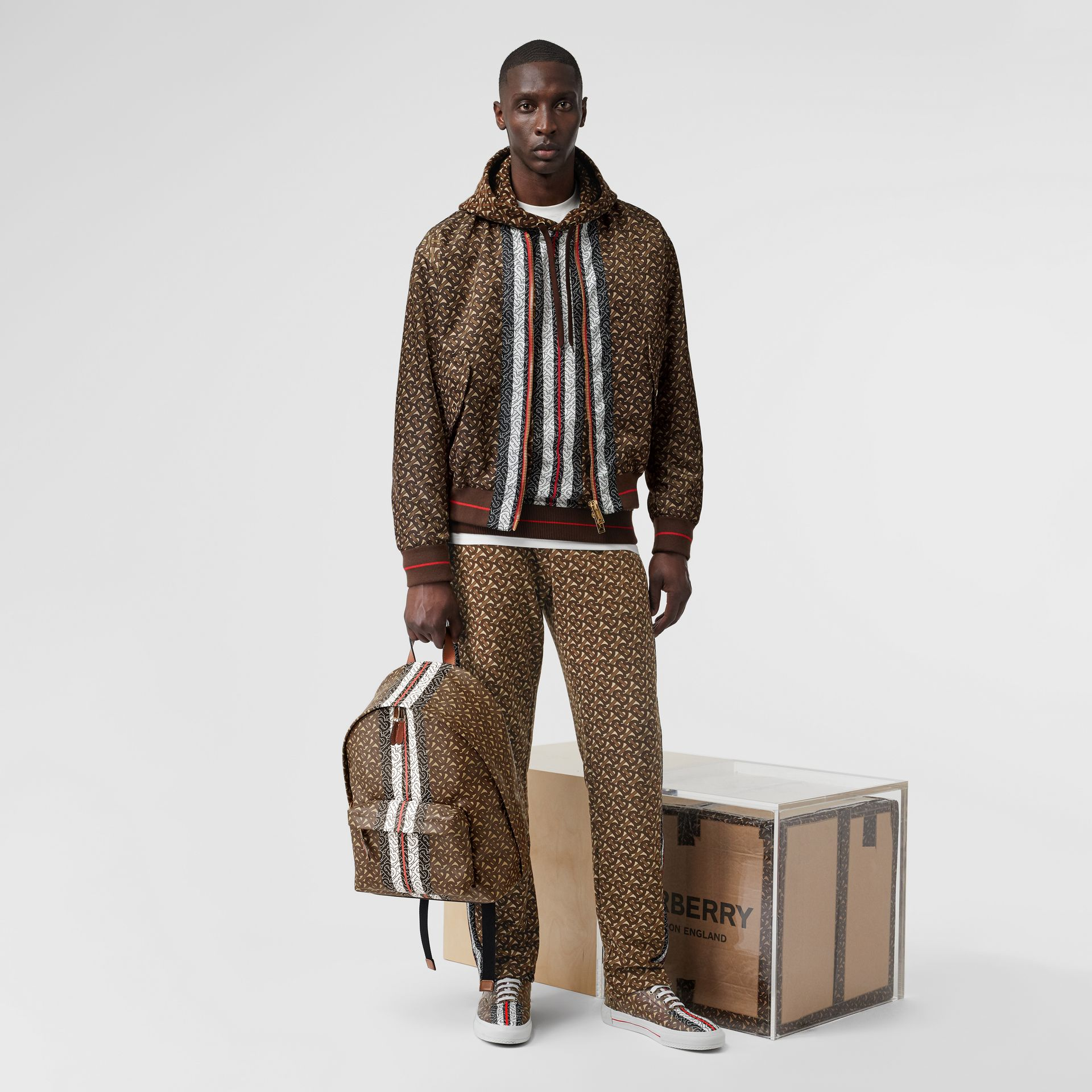 Monogram Stripe Print Nylon Bomber Jacket in Bridle Brown - Men | Burberry - gallery image 5
