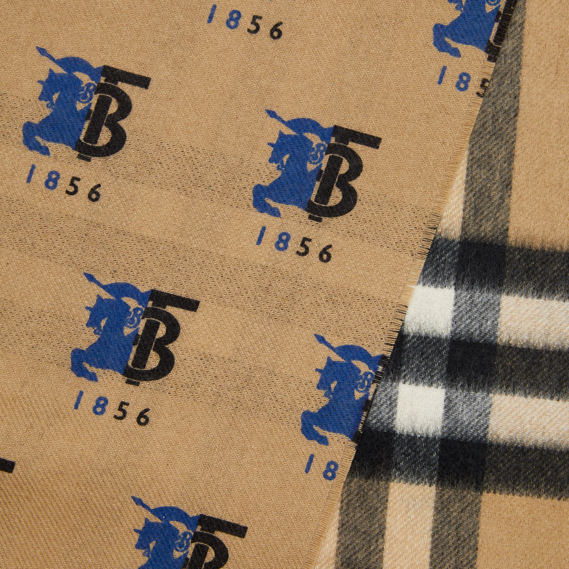 Contrast Logo Graphic Check Cashmere Scarf in Blue | Burberry - gallery image 1