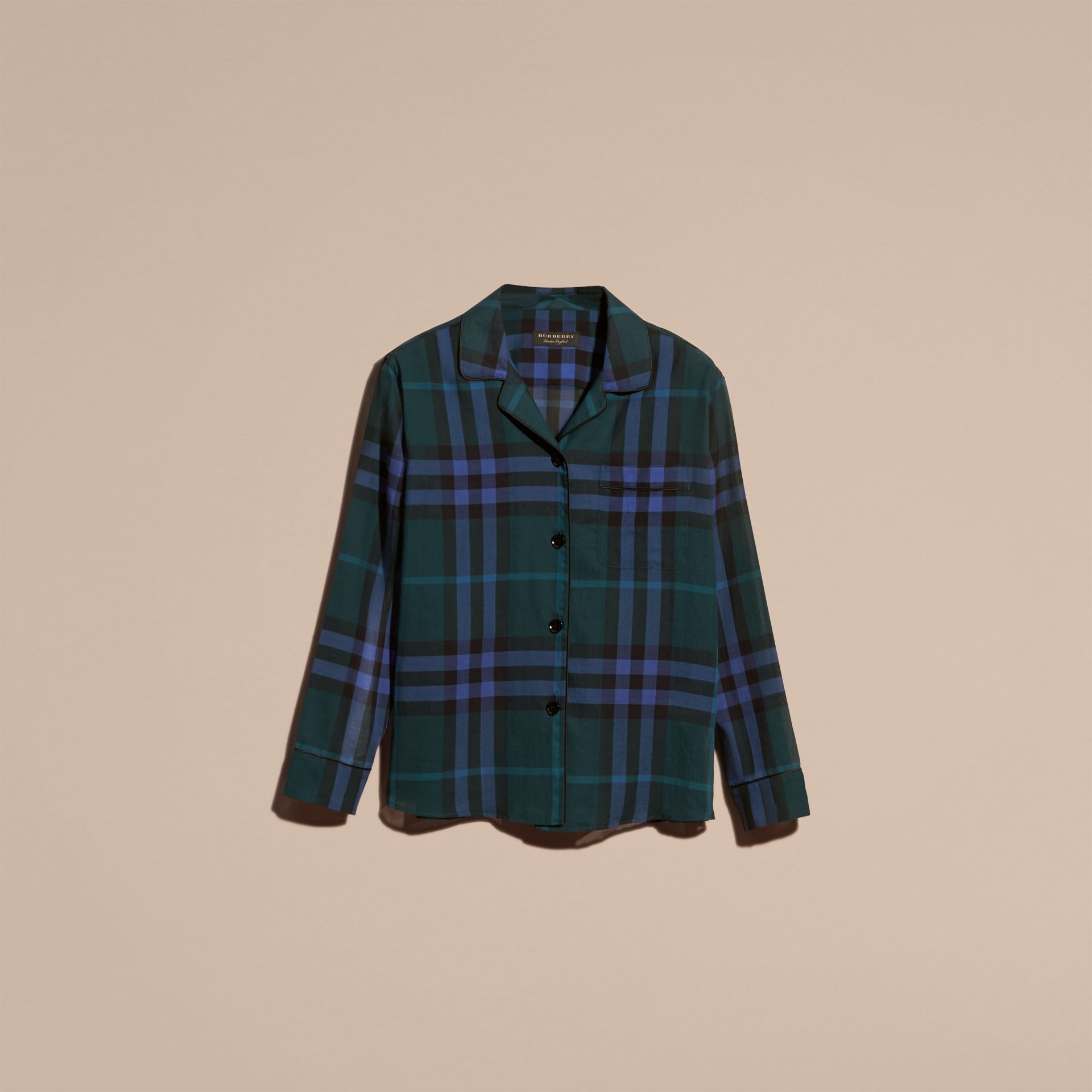 Check Cotton Pyjama-style Shirt in Dark Teal - gallery image 4