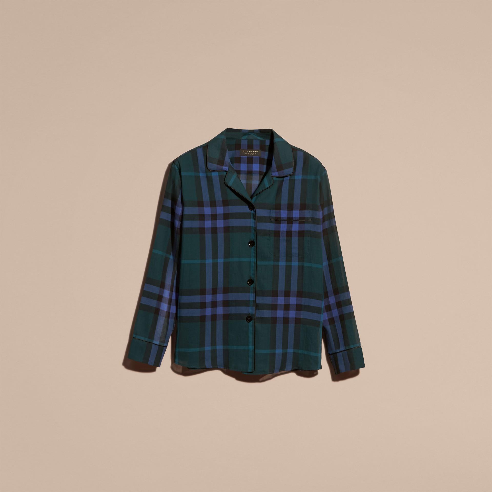 Dark teal Check Cotton Pyjama-style Shirt Dark Teal - gallery image 4