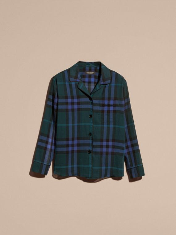 Dark teal Check Cotton Pyjama-style Shirt Dark Teal - cell image 3