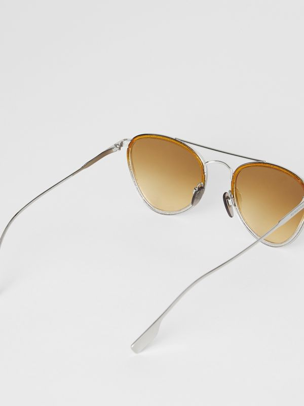 Glitter Detail Pilot Sunglasses in Yellow - Women | Burberry Australia - cell image 3