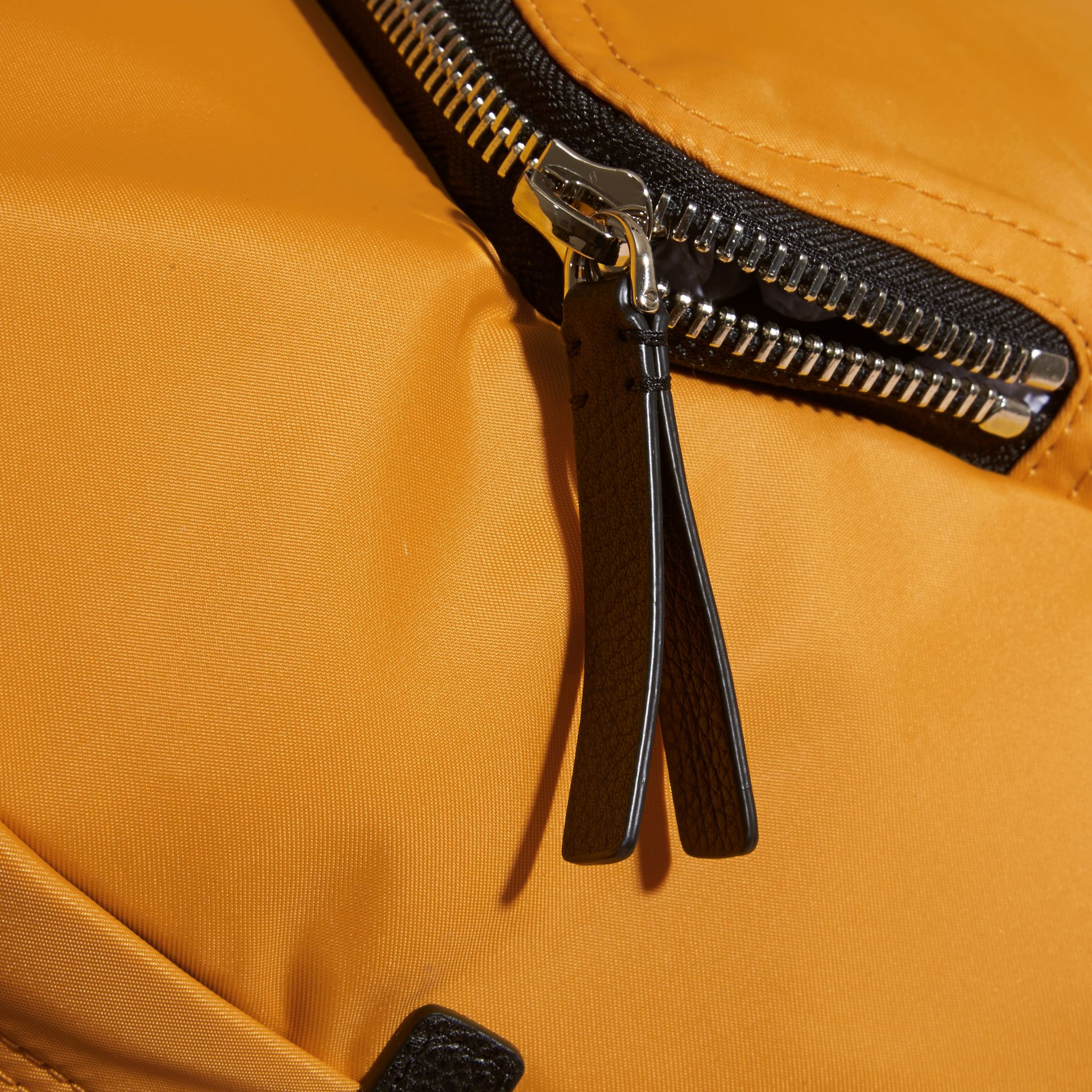Amber yellow Leather Trim Nylon Backpack Amber Yellow - gallery image 2