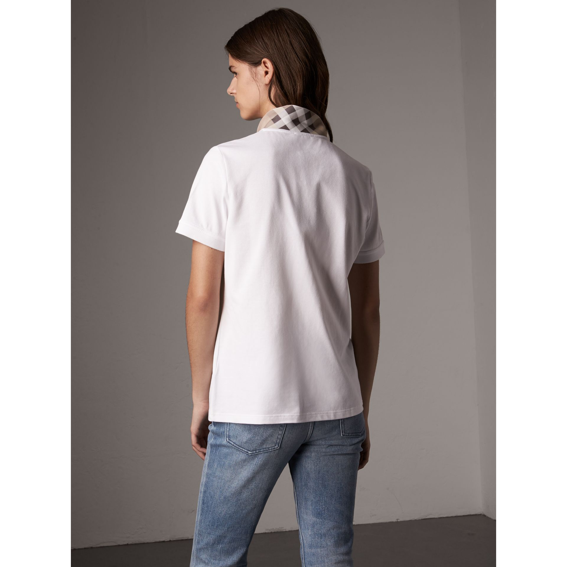 Check Trim Stretch Cotton Piqué Polo Shirt in White - Women | Burberry - gallery image 3