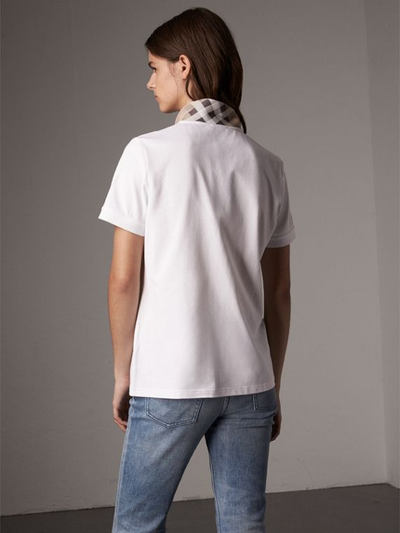 Check Trim Stretch Cotton Piqué Polo Shirt in White - Women | Burberry United States - cell image 2