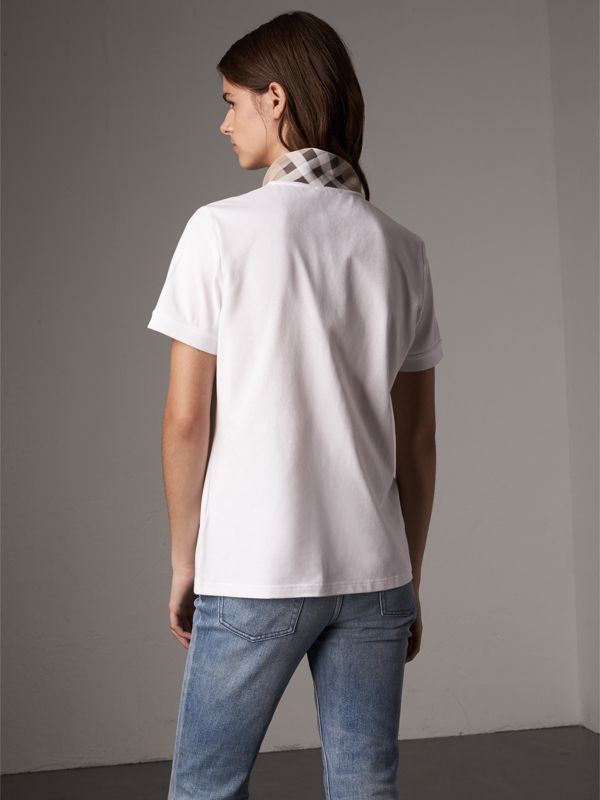 Check Trim Stretch Cotton Piqué Polo Shirt in White - Women | Burberry - cell image 2