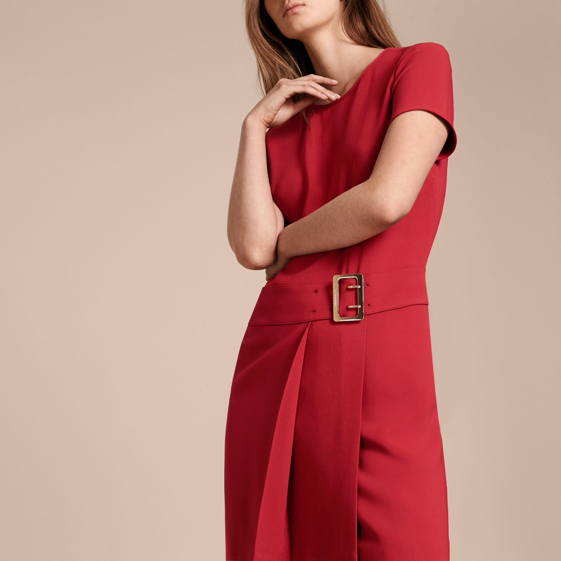 Buckle Detail Pleated Shift Dress in Parade Red - gallery image 5