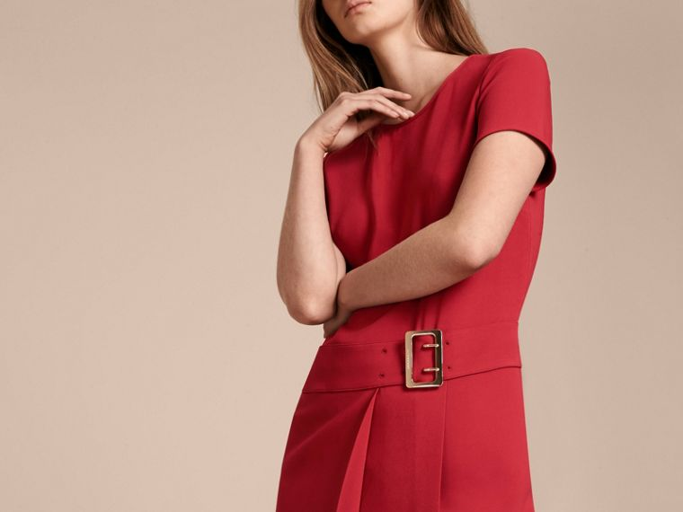 Buckle Detail Pleated Shift Dress in Parade Red - cell image 4
