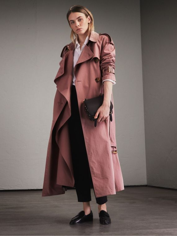 Trench coat in gabardine tropicale (Rosa Antico)