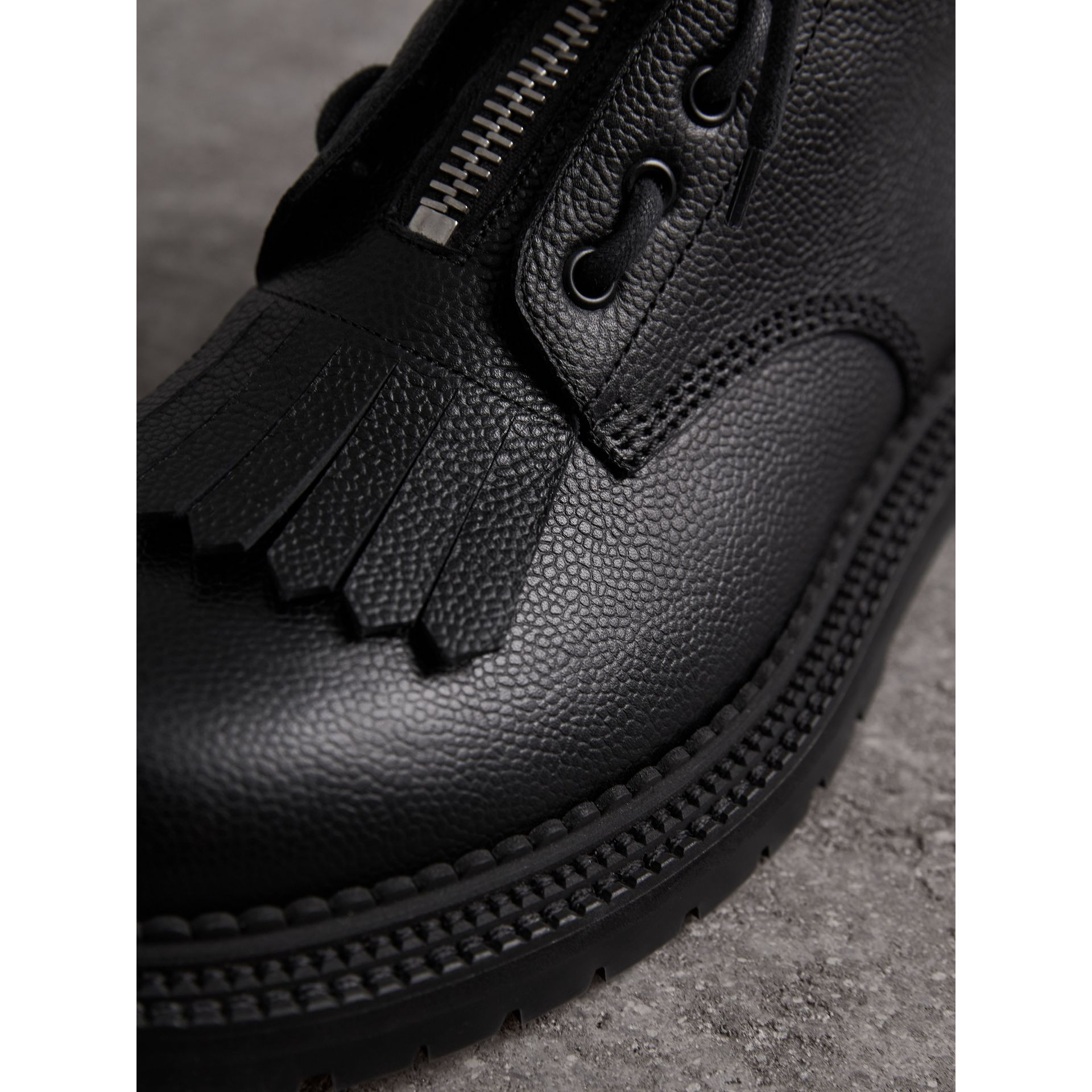 Fringe Detail Grainy Leather Zipped Boots in Black - Men | Burberry United Kingdom - gallery image 1