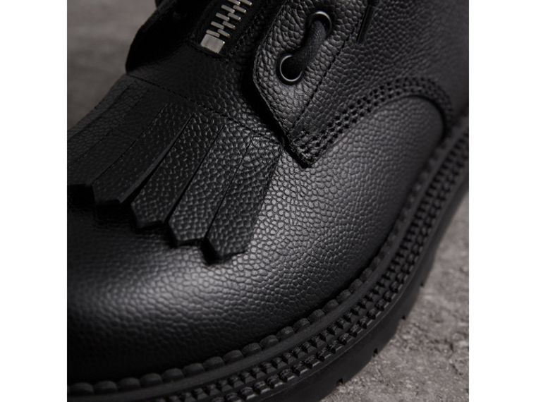 Fringe Detail Grainy Leather Zipped Boots in Black - Men | Burberry United Kingdom - cell image 1