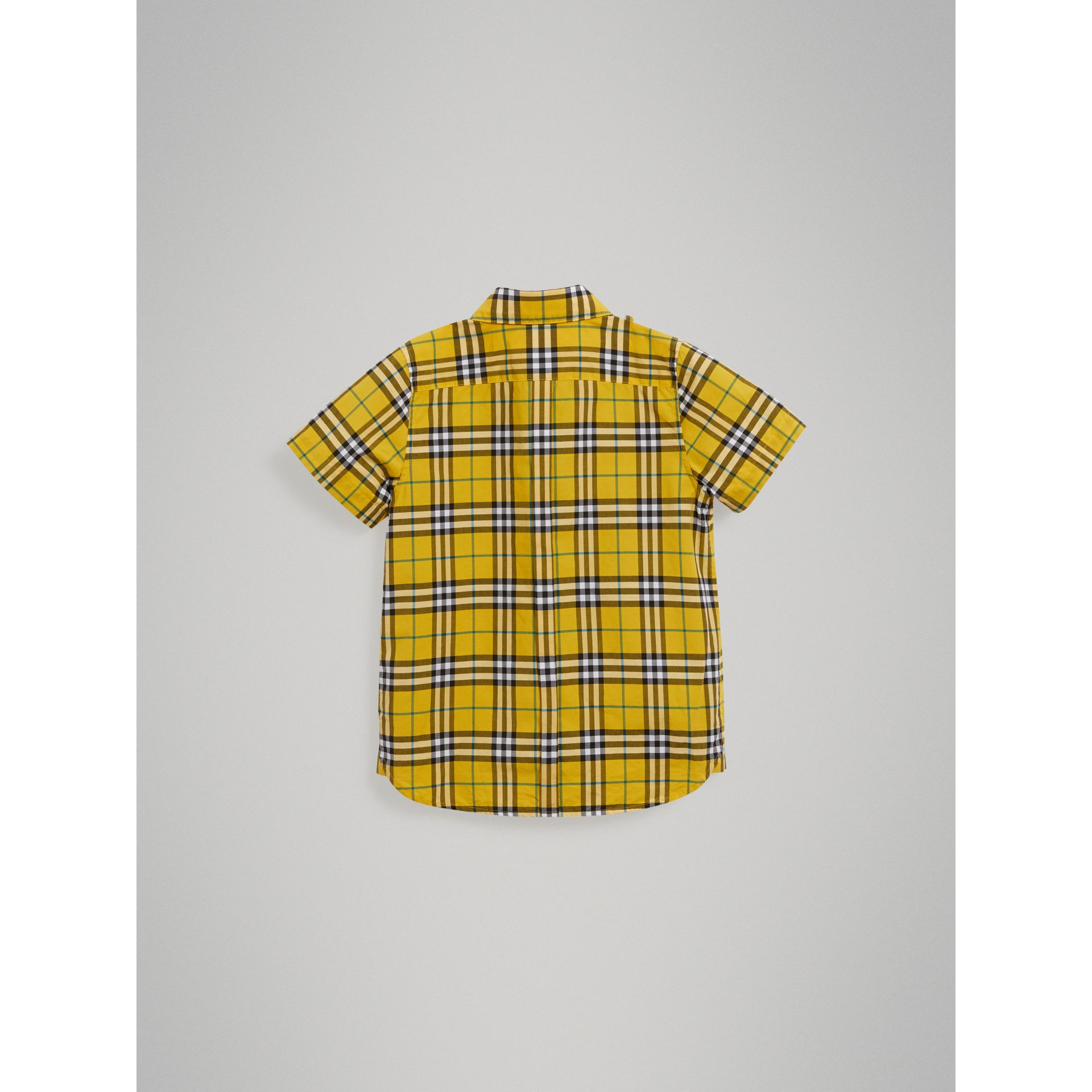 Short-sleeve Check Cotton Shirt in Bright Yellow - Boy | Burberry Singapore - gallery image 3