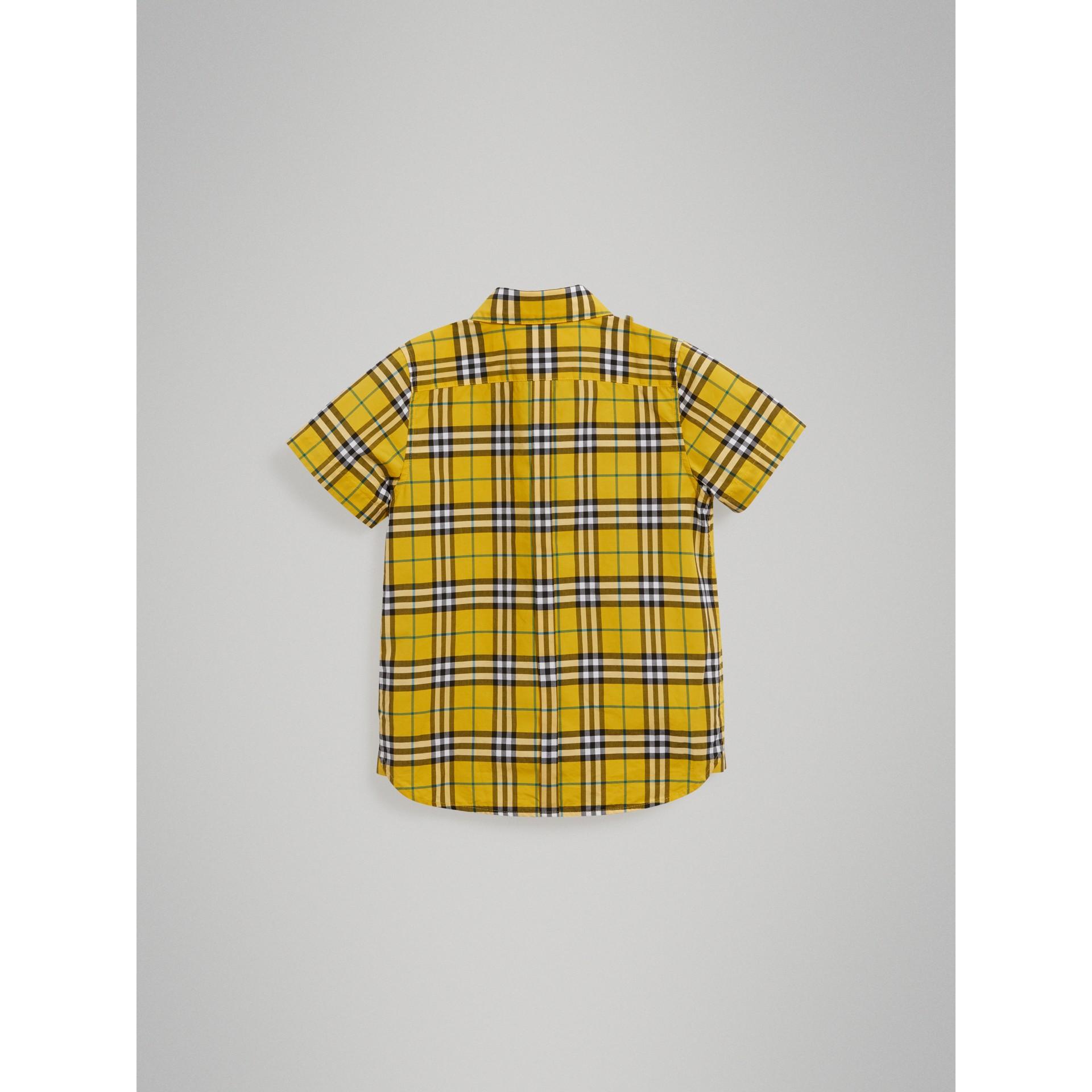 Chemise en coton à manches courtes avec motif check (Jaune Vif) - Garçon | Burberry - photo de la galerie 3
