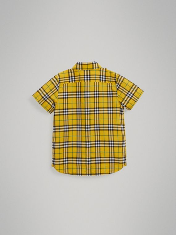 Short-sleeve Check Cotton Shirt in Bright Yellow - Boy | Burberry Singapore - cell image 3