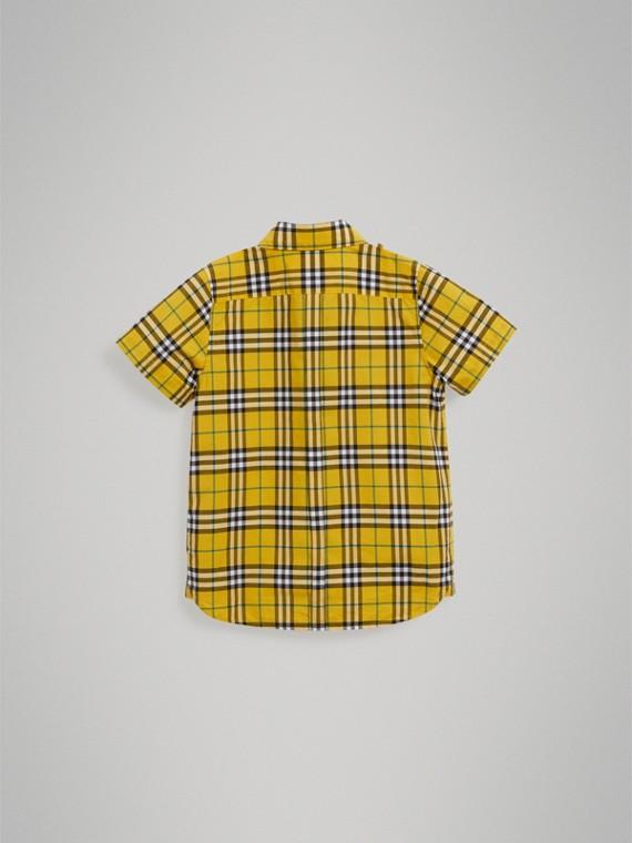 Chemise en coton à manches courtes avec motif check (Jaune Vif) - Garçon | Burberry - cell image 3