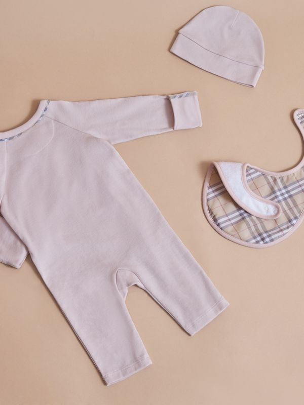 Cotton Three-piece Baby Gift Set in Powder Pink - Children | Burberry - cell image 2