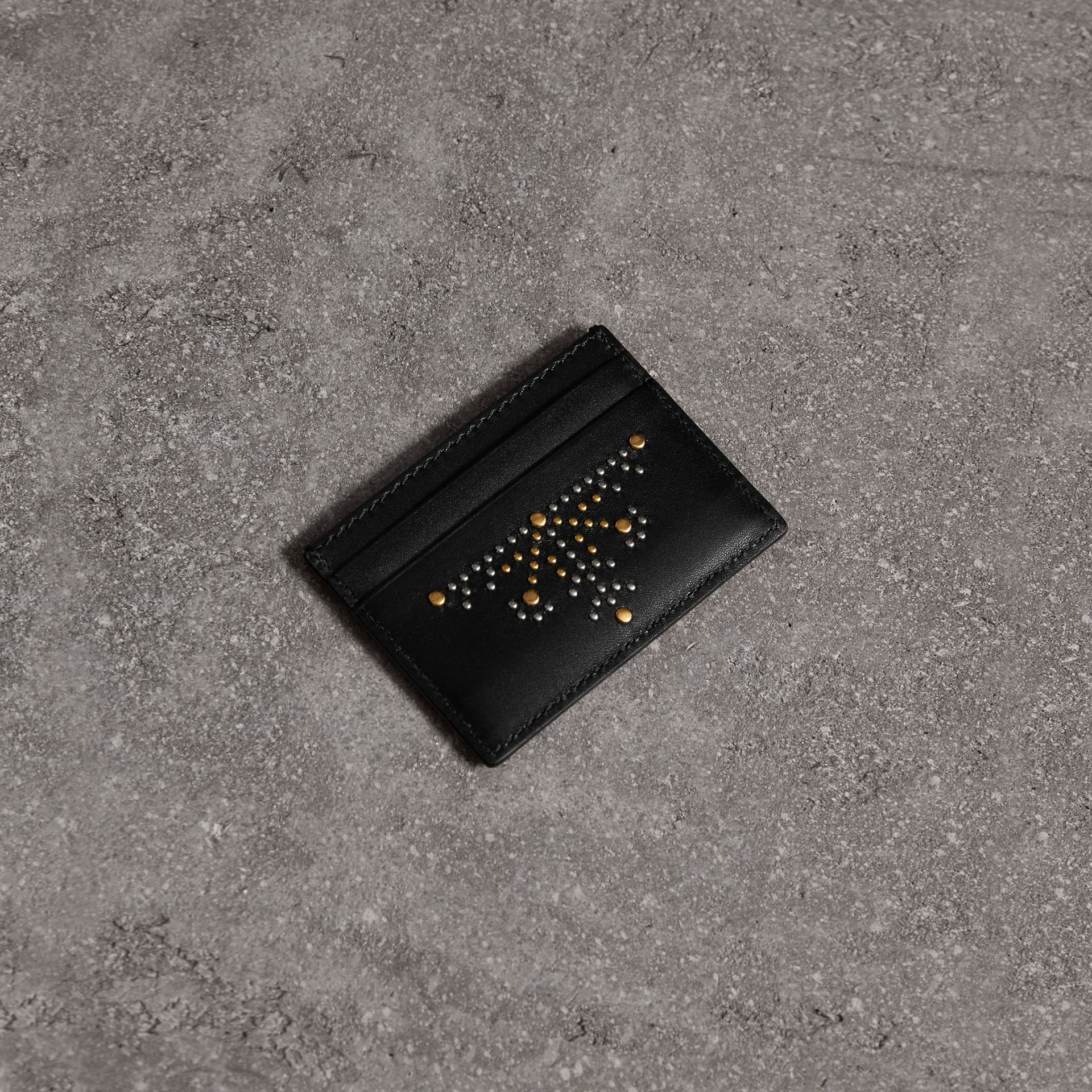 Riveted Leather Card Case in Black | Burberry - gallery image 0