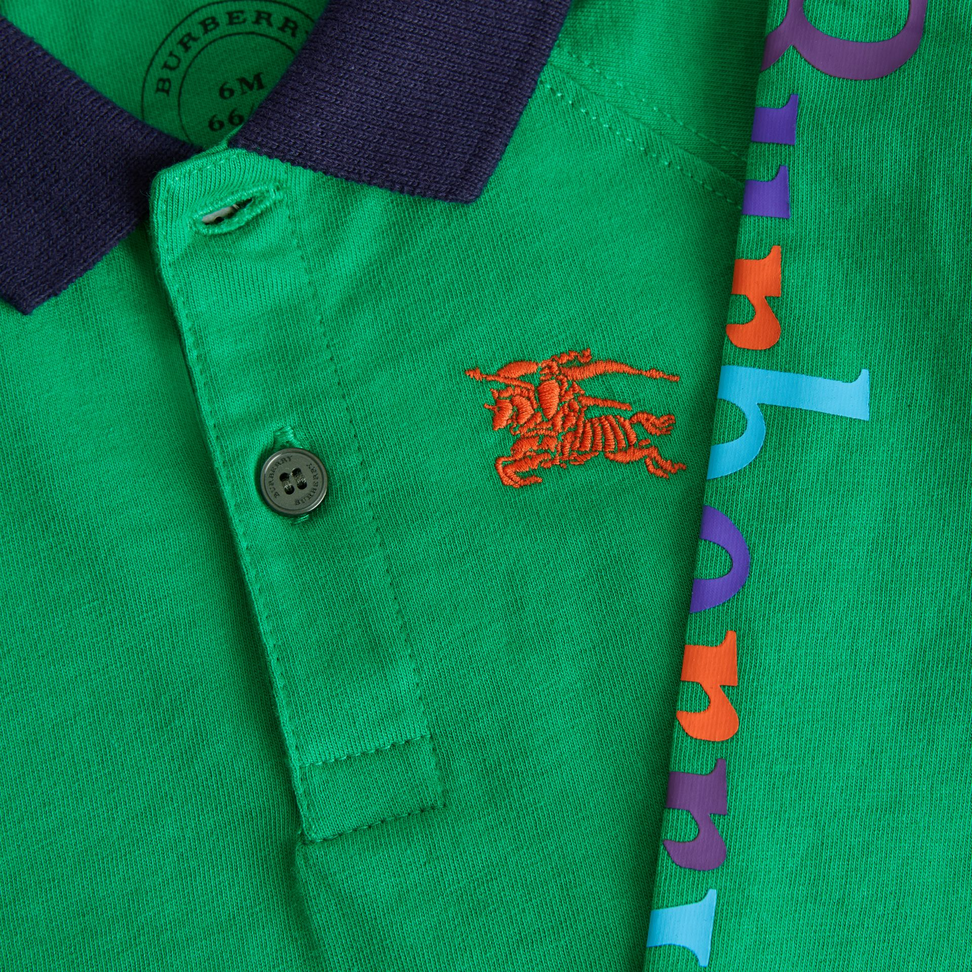 Archive Logo Print Cotton Long-sleeve Polo Shirt in Bright Pigment Green - Children | Burberry Australia - gallery image 1