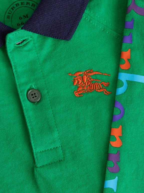 Archive Logo Print Cotton Long-sleeve Polo Shirt in Bright Pigment Green - Children | Burberry Australia - cell image 1