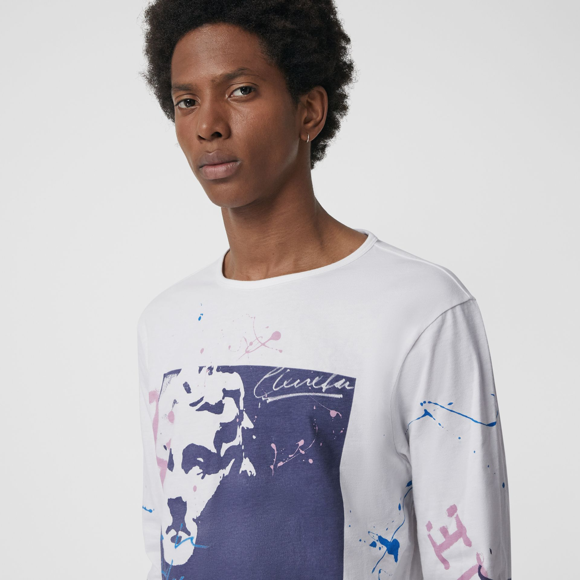 Portrait Print Cotton Top in Optic White - Men | Burberry - gallery image 1