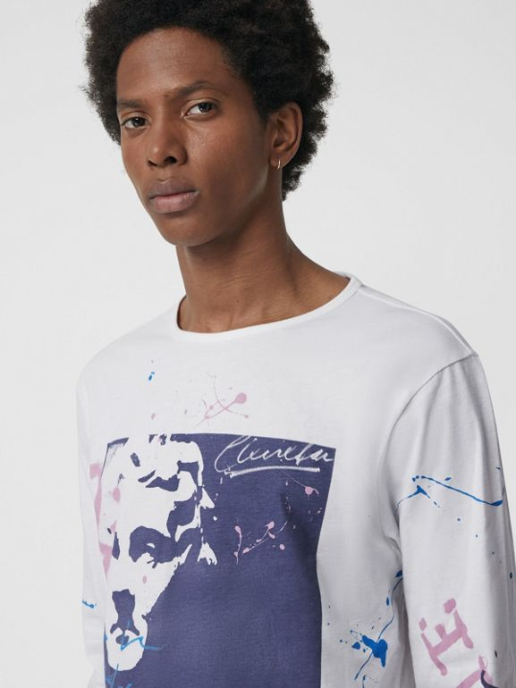 Portrait Print Cotton Top in Optic White - Men | Burberry - cell image 1