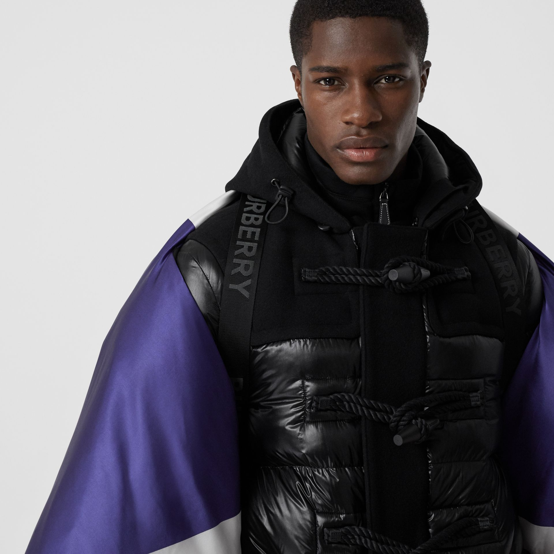Union Jack and Logo Print Oversized Puffer Cape in Multicolour | Burberry United States - gallery image 4