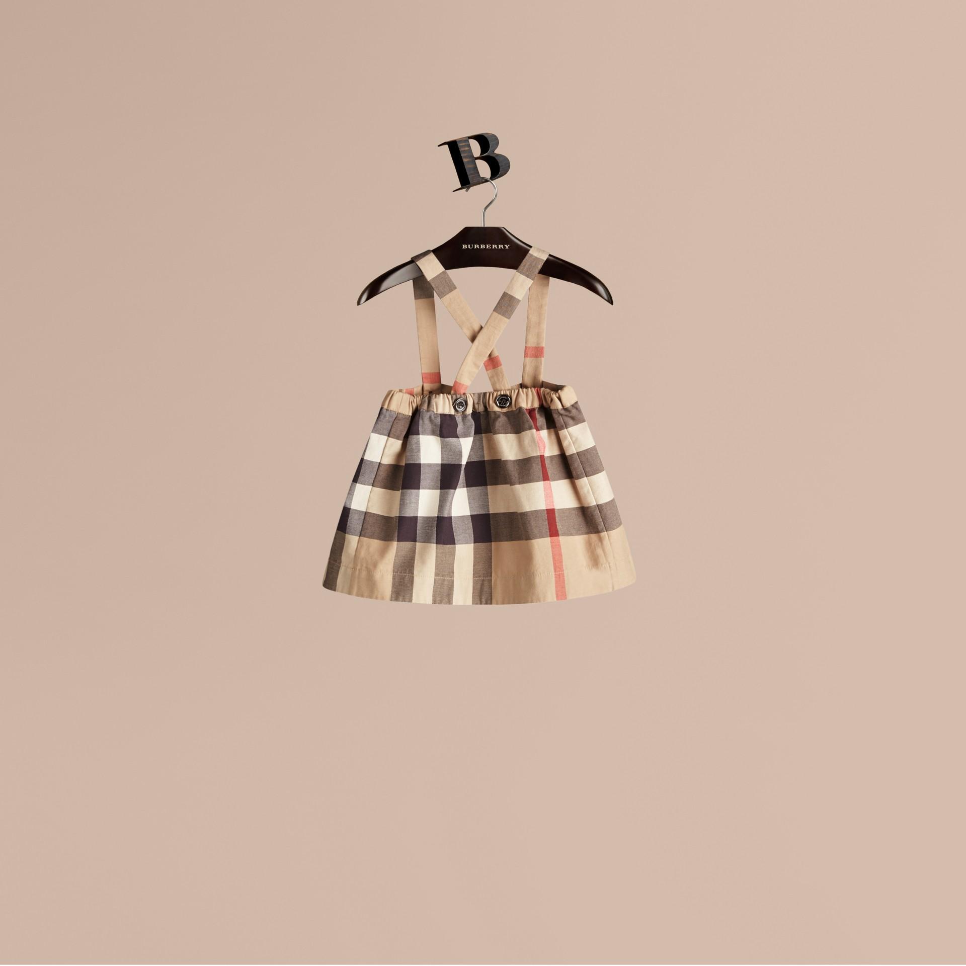 Nouveau check classique Jupe en coton check à bretelles amovibles - photo de la galerie 3