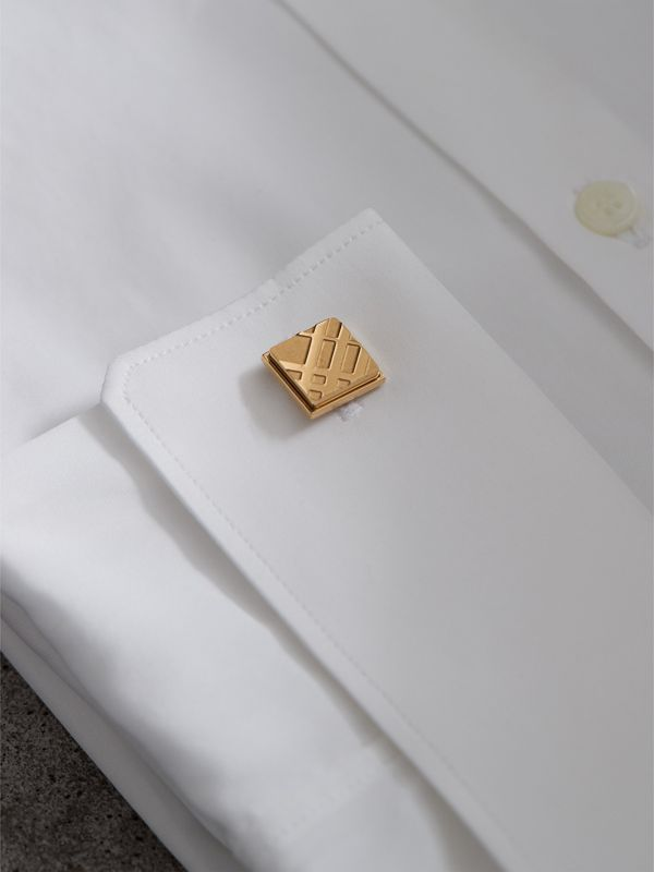 Check-engraved Square Cufflinks in Pale Gold - Men | Burberry - cell image 2