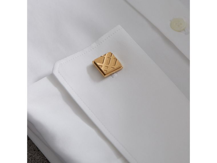 Check-engraved Square Cufflinks in Pale Gold - Men | Burberry Australia - cell image 2