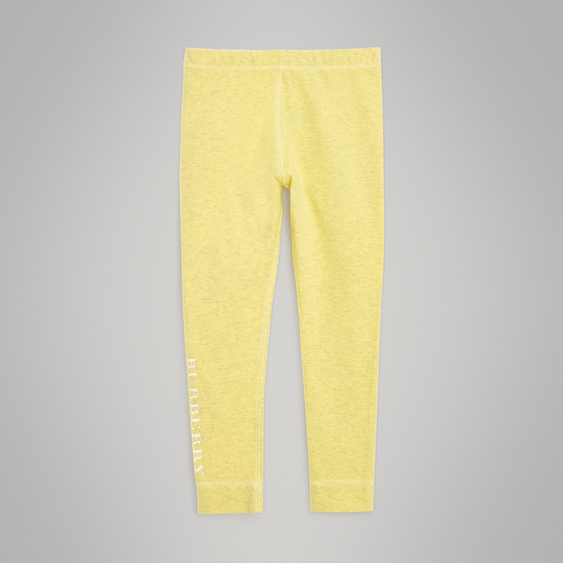 Logo Print Stretch Cotton Leggings in Citrus Yellow | Burberry - gallery image 0