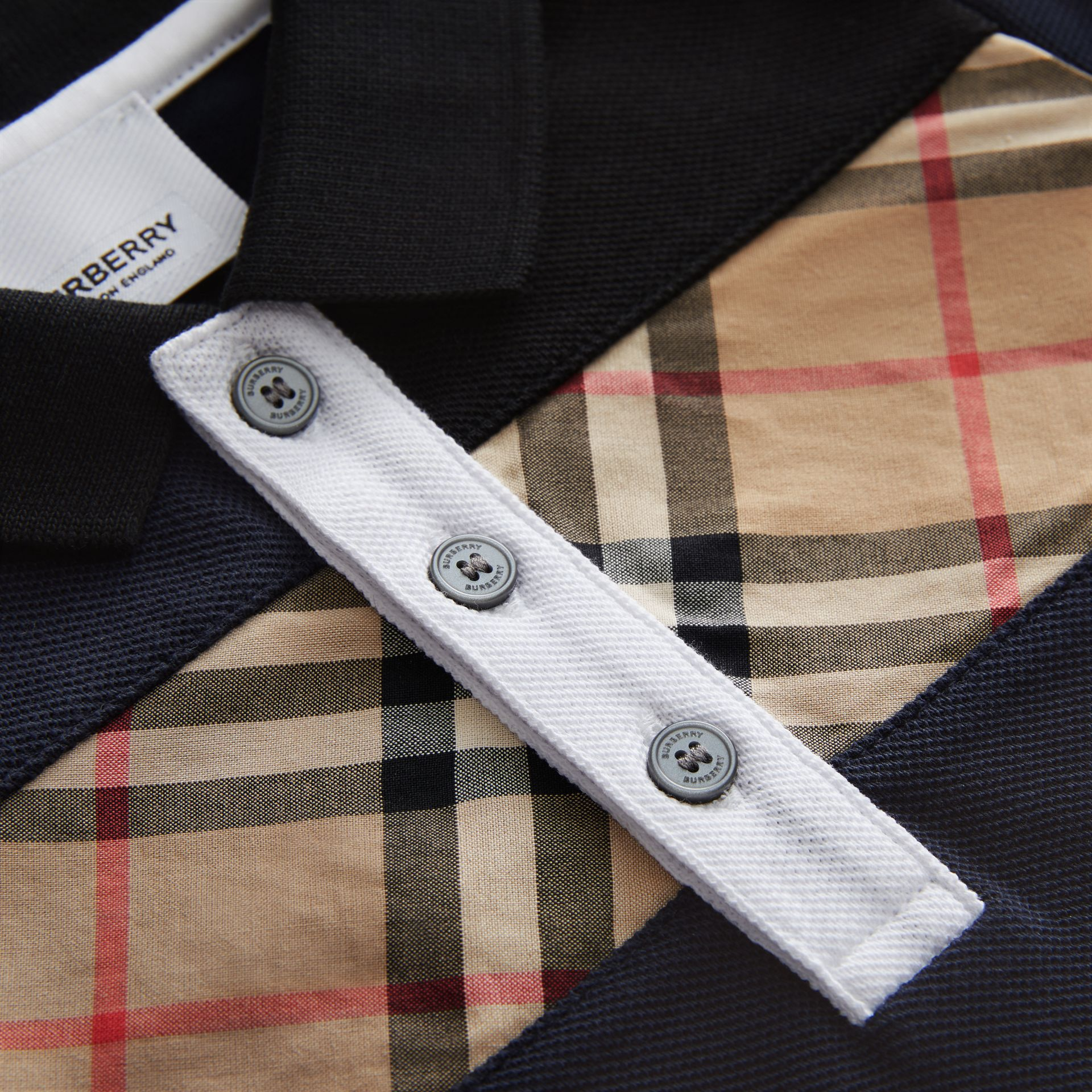 Vintage Check Panel Cotton Polo Shirt in Navy - Children | Burberry Canada - gallery image 1