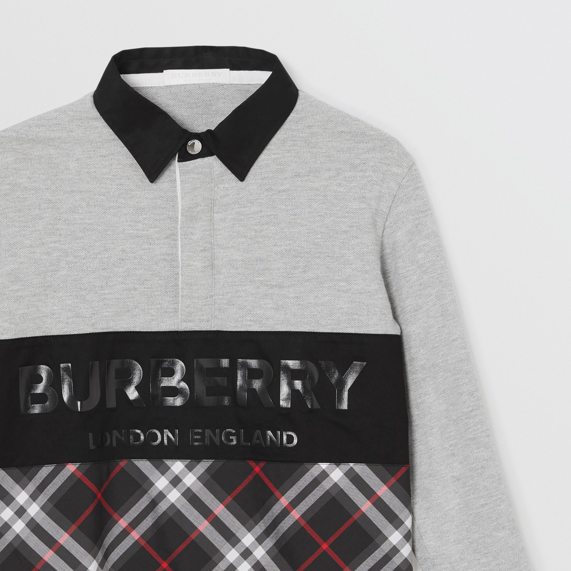 Long-sleeve Logo Print Check Panel Polo Shirt in Grey Melange | Burberry - gallery image 4