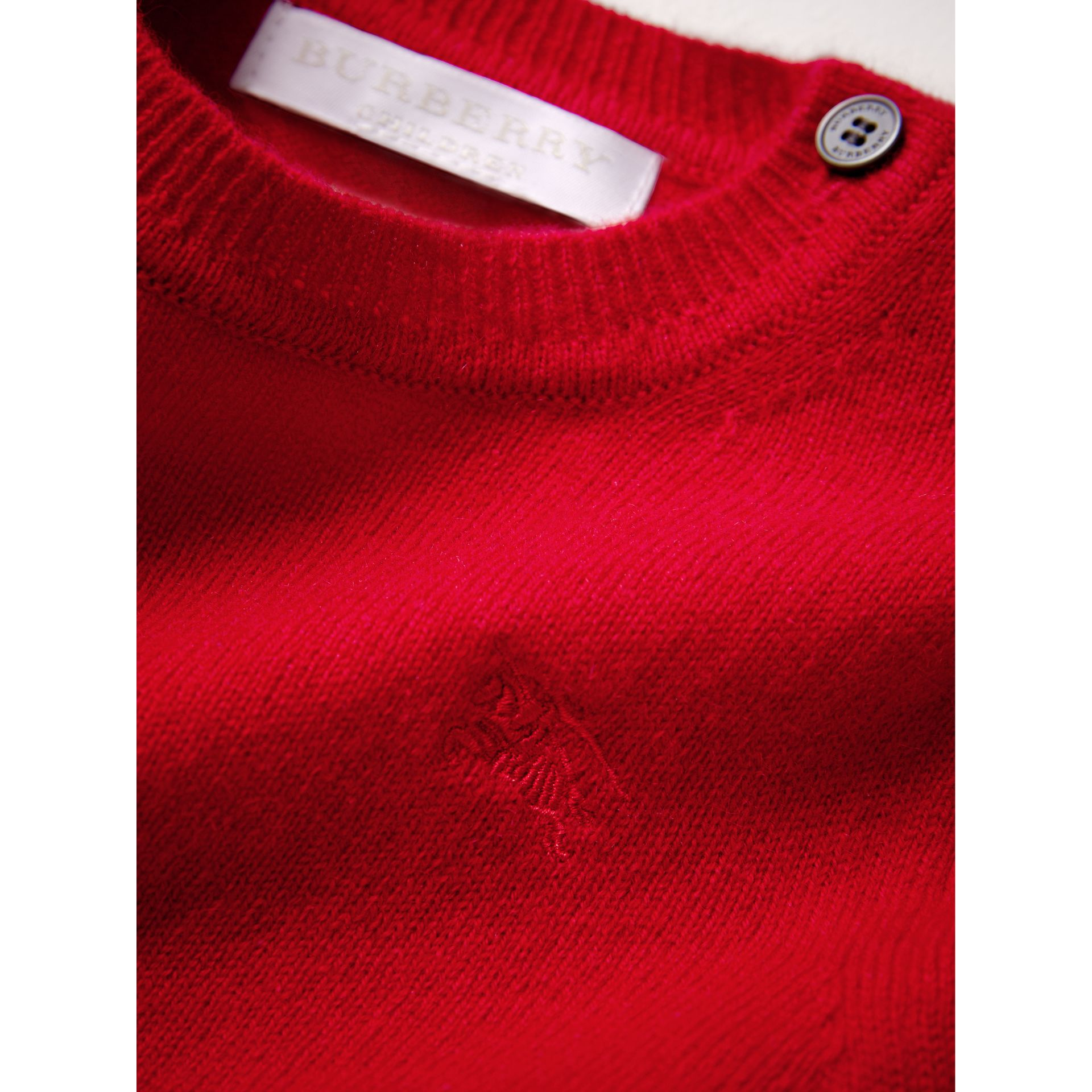 Check Cuff Cashmere Sweater in Parade Red | Burberry Australia - gallery image 2