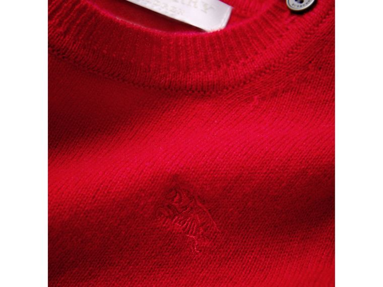 Check Cuff Cashmere Sweater in Parade Red | Burberry Australia - cell image 1