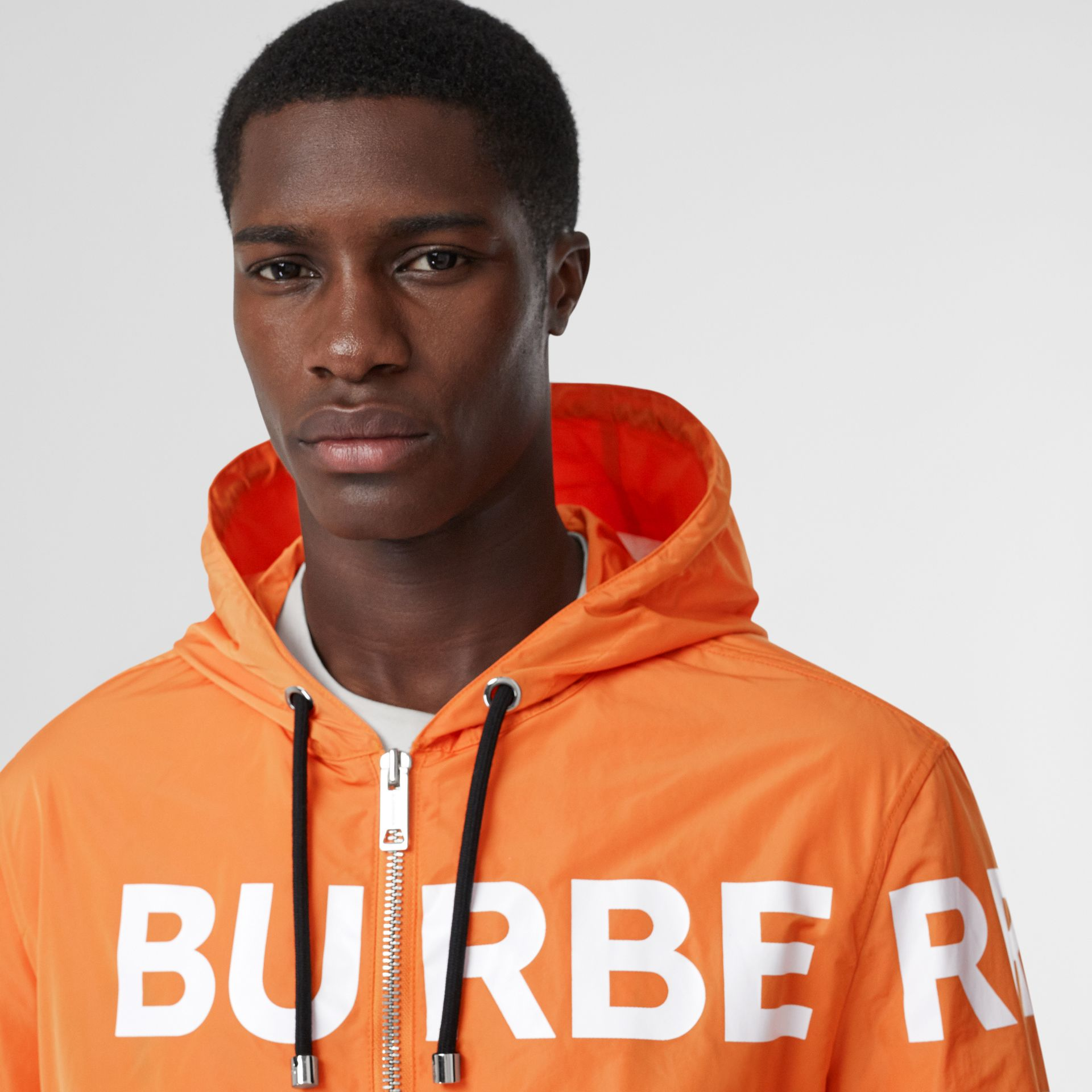 Horseferry Print Nylon Hooded Jacket in Bright Orange - Men | Burberry - gallery image 6