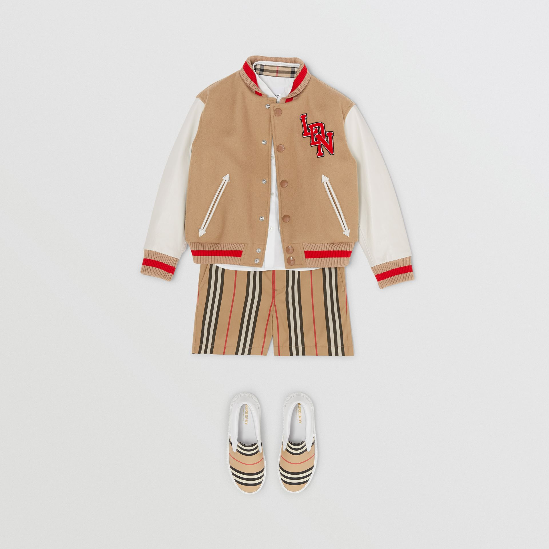 Contrast Sleeve Logo Graphic Wool Bomber Jacket in Honey | Burberry - gallery image 2