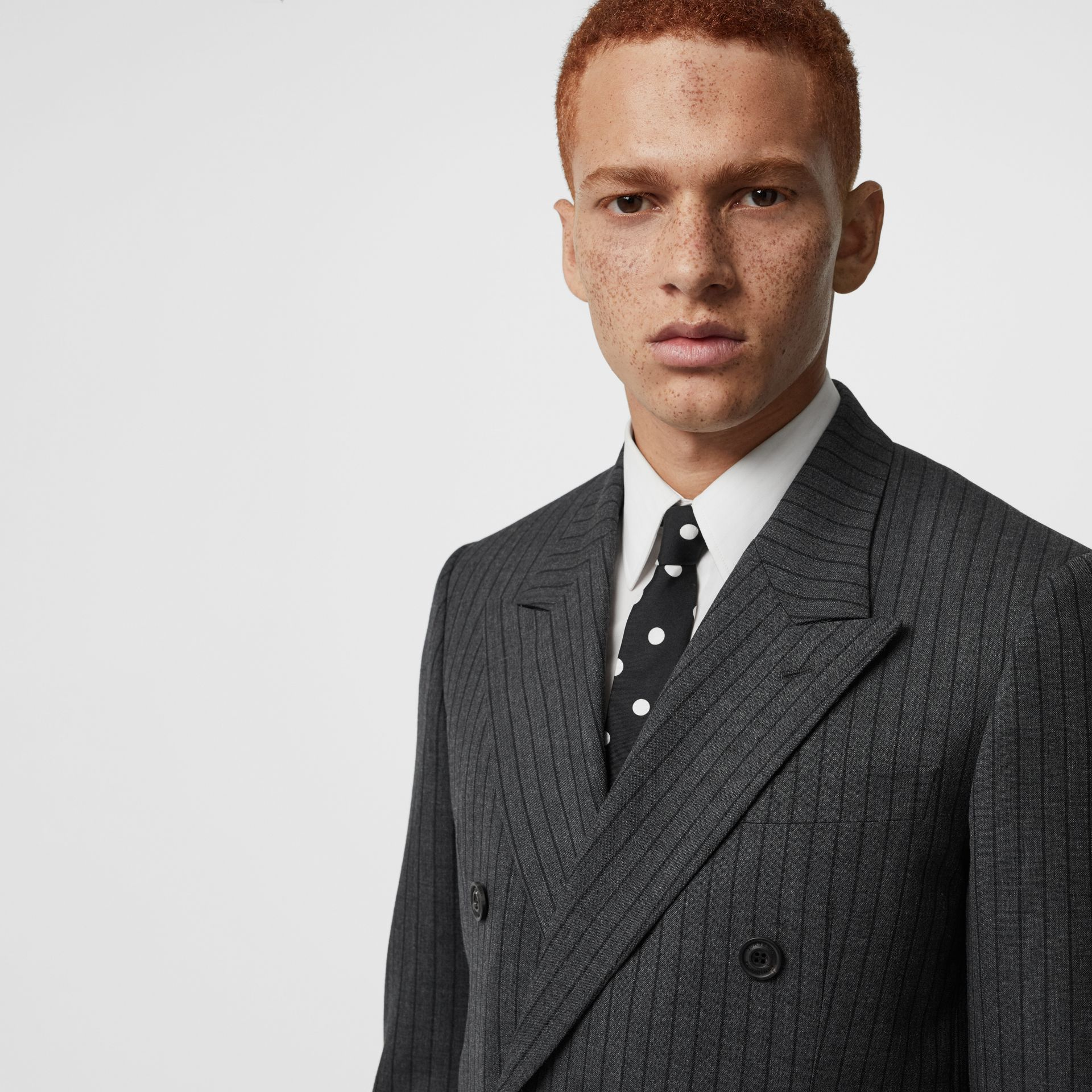 Classic Fit Pinstriped Wool Tailored Jacket in Mid Grey Melange - Men | Burberry Canada - gallery image 1