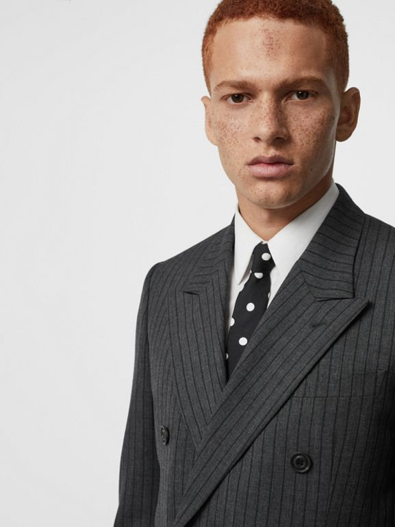 Classic Fit Pinstriped Wool Tailored Jacket in Mid Grey Melange - Men | Burberry Canada - cell image 1