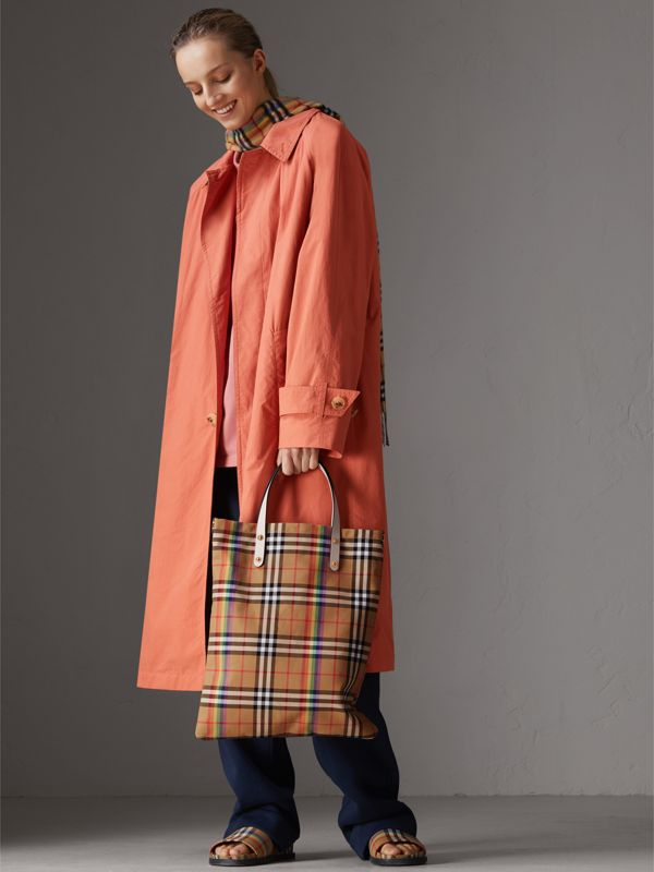 Rainbow Vintage Check Medium Shopper in Natural | Burberry - cell image 2