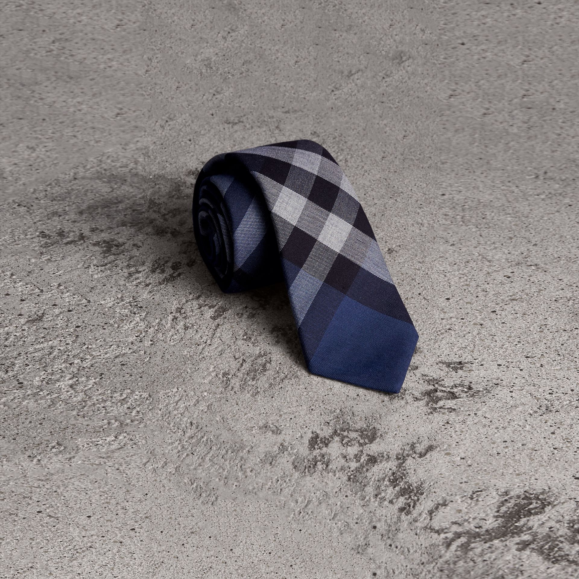 Modern Cut Check Cotton Cashmere Tie in Canvas Blue - Men | Burberry United Kingdom - gallery image 0