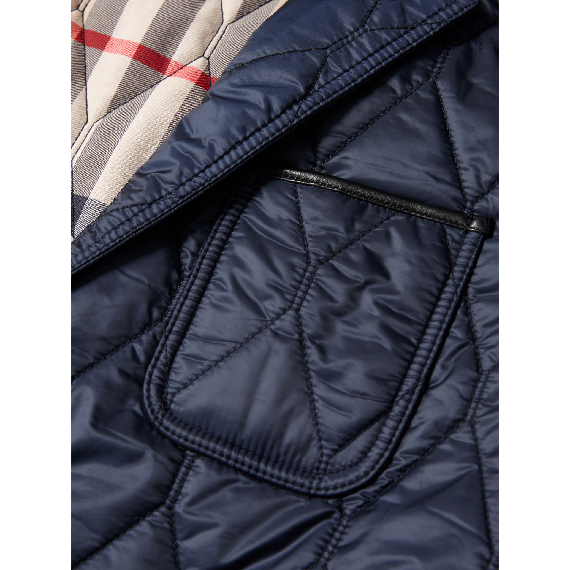 Lambskin Trim Quilted Blazer in Navy - Men | Burberry - gallery image 2